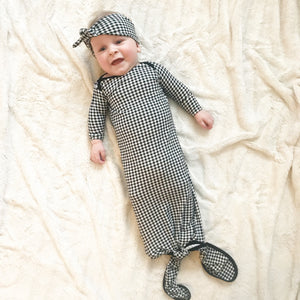 Black Gingham Check Knotted Gown w/ Headband OR HAT  2-Piece Set - Aspen Lane