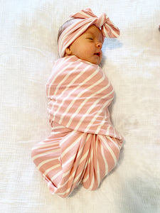Blush Pink Stripe Swaddle Blanket + Hat Set - Aspen Lane