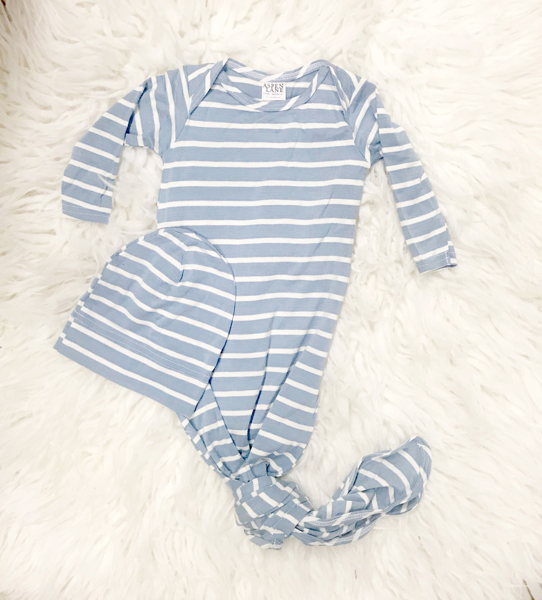 Knotted Gown & Hat Set |  Baby Blue Stripe - Aspen Lane