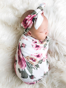 Ivory Floral Swaddle Blanket + Hat Set - Aspen Lane