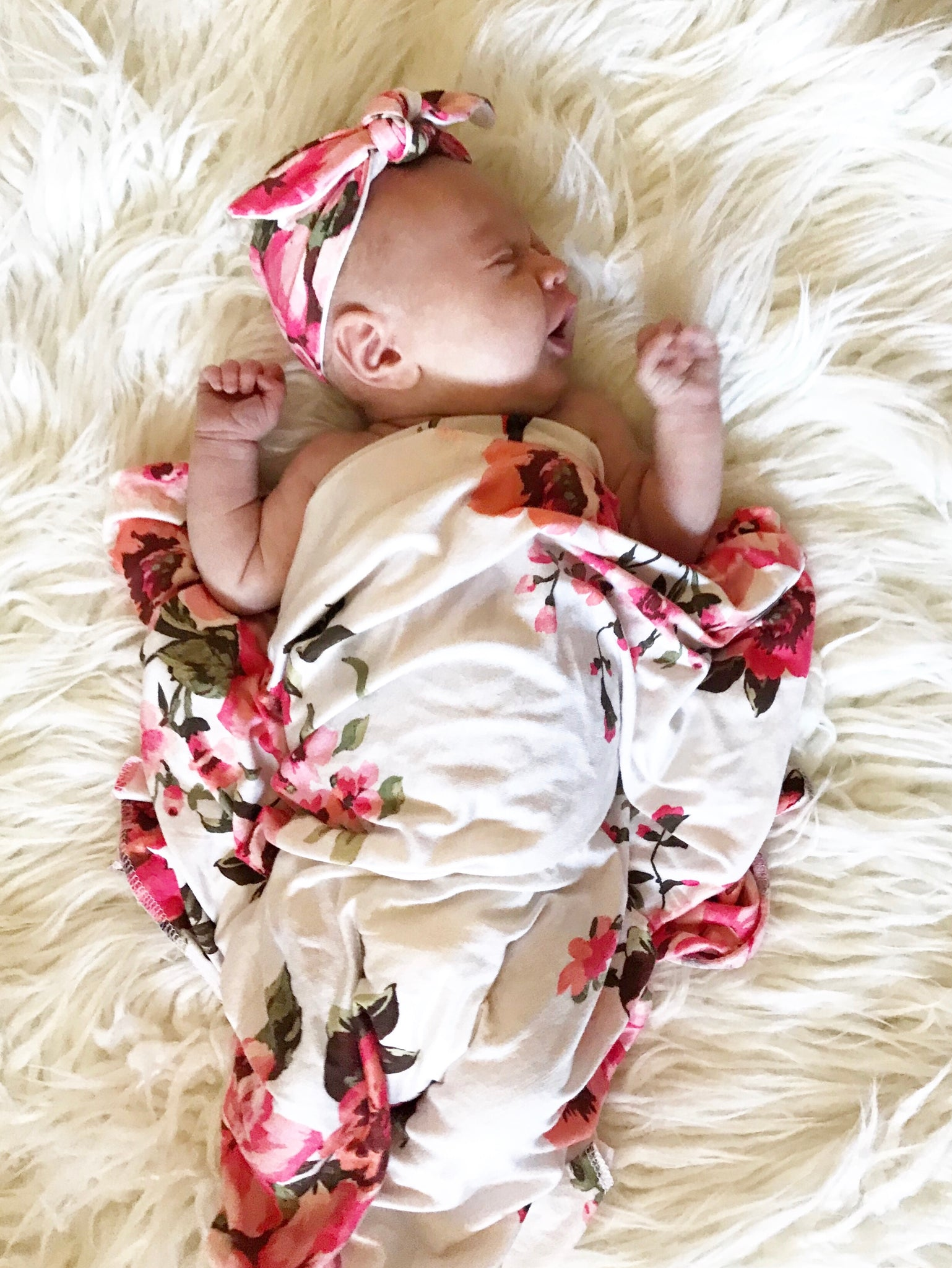 Botanical Swaddle Blanket + Headband Set - Aspen Lane