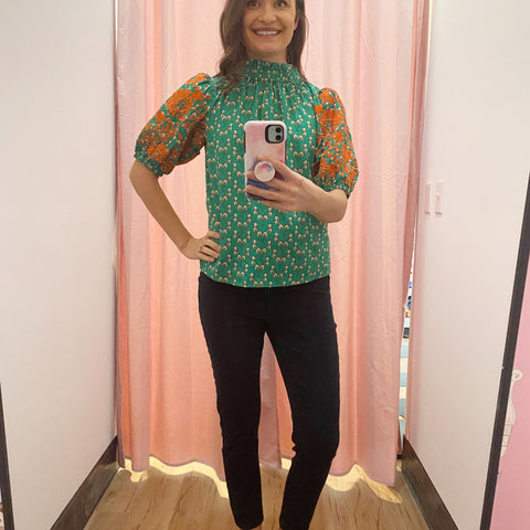Elise Green Embroidered Blouse