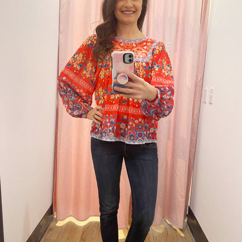 Celia Boho Blouse (Red)