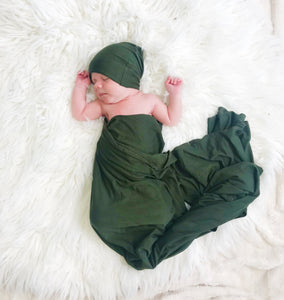 Olive Oversized Blanket + Hat Set - Aspen Lane