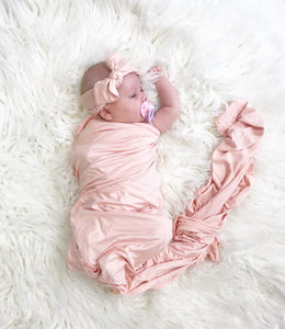 Blush Pink Oversized Blanket + Hat Set - Aspen Lane