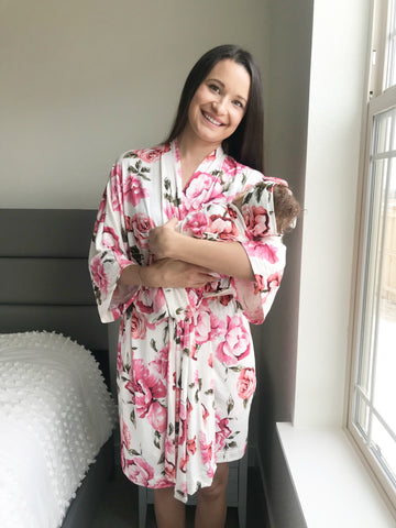 Rose Peony  Floral Maternity Robe & Matching Swaddle Set | 3-Piece - Aspen Lane