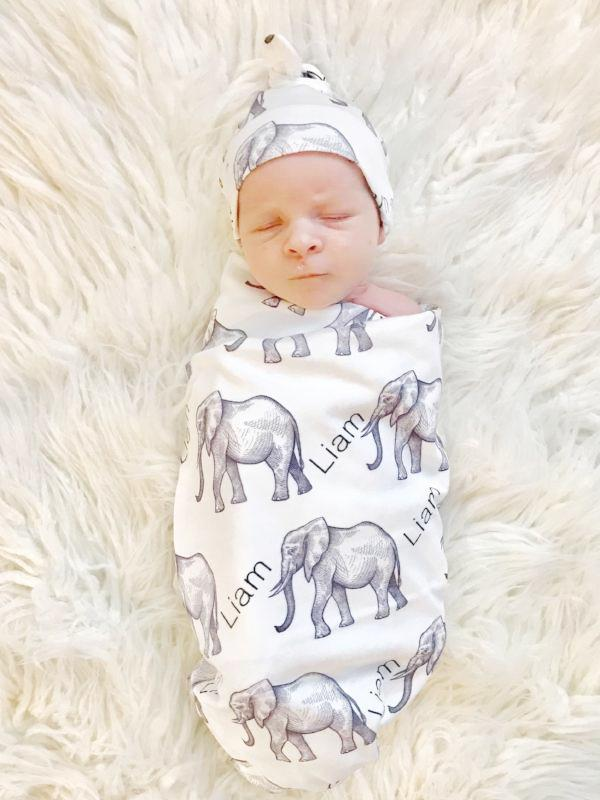 Elephant Personalized Blanket + Hat Set - Aspen Lane