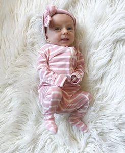 Blush Pink Stripe Footie - Aspen Lane