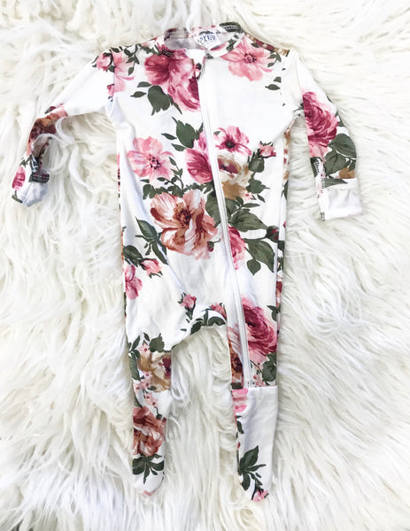White Floral Pink Footie - Aspen Lane