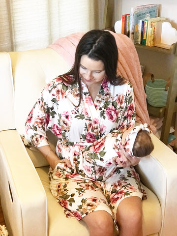 White Floral Maternity Robe & Matching Swaddle or GOWN Set | 3-Piece - Aspen Lane