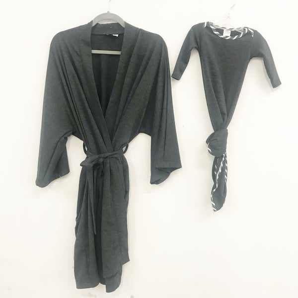 Charcoal Maternity Robe & Matching Knotted Gown Set | 3-Piece - Aspen Lane