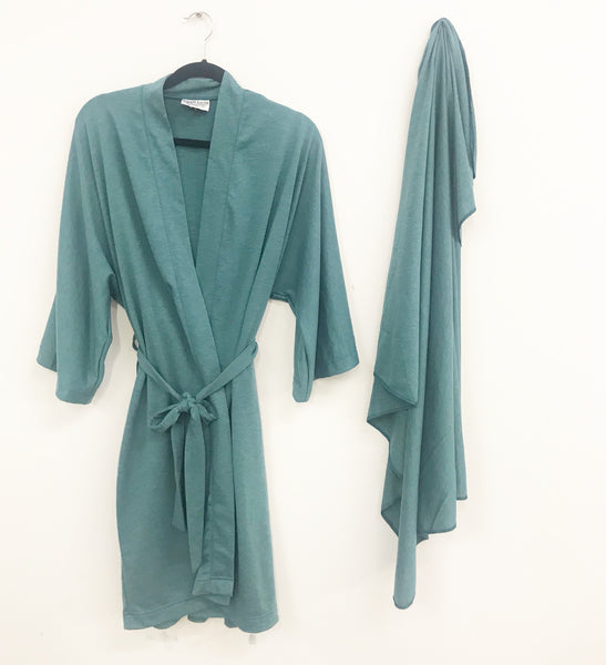 Teal Maternity Robe & Matching Swaddle Set | 3-Piece - Aspen Lane