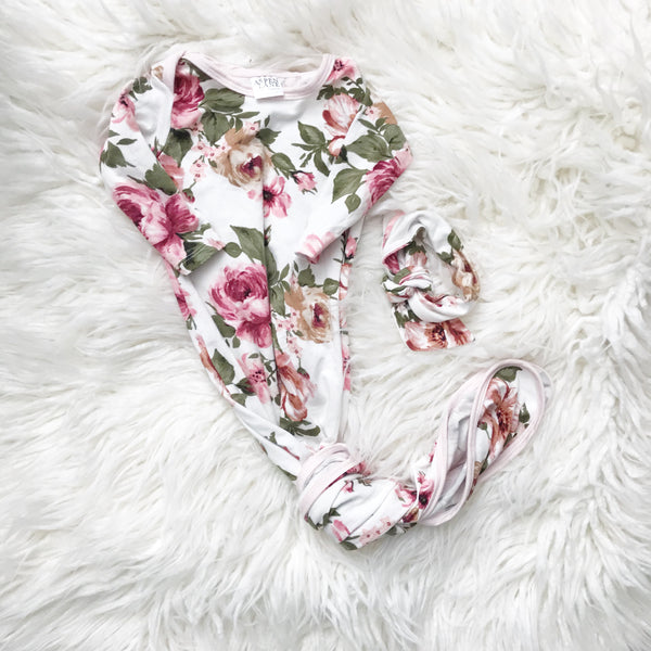 Ivory Floral Maternity Robe & Matching Swaddle or GOWN Set | 3-Piece - Aspen Lane