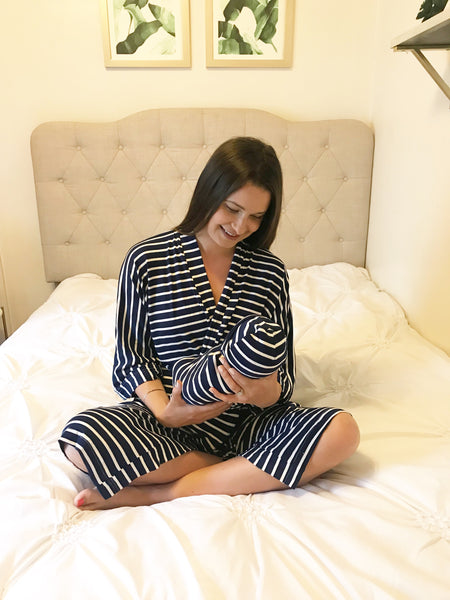 Navy Stripe Maternity Robe & Matching Swaddle Set | 3-Piece - Aspen Lane