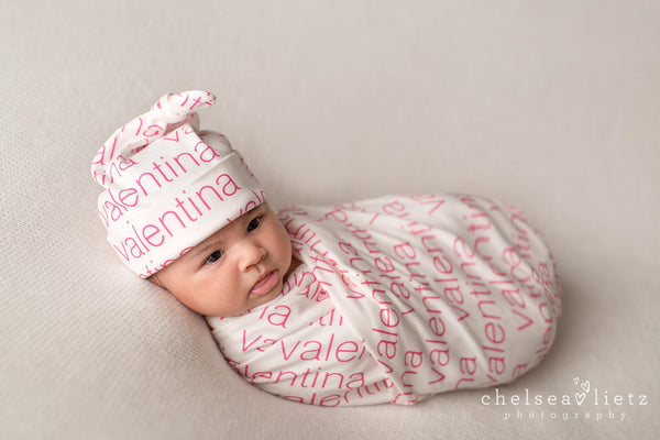 Custom Organic Baby Blanket + Hat ~ MODERN Design (White Background w/ colored name) - Aspen Lane