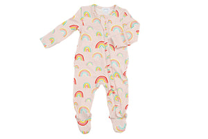 Rainbow (Pink) Ruffle Zipper Footie