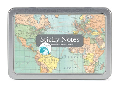 Vintage Map Sticky Notes | Gift Set Tin - Aspen Lane