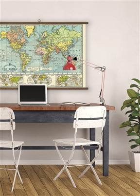 "World Map Vintage School Chart | 40""x28"" - Aspen Lane"
