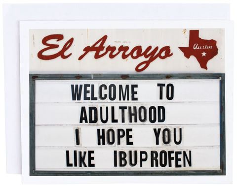 Welcome to Adulthood | Blank Greeting Card