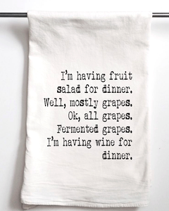 Wine for Dinner Flour Sack Towel - Aspen Lane