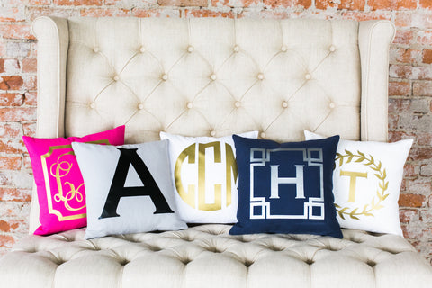 "Monogram 18"" Pillow-Metallic"