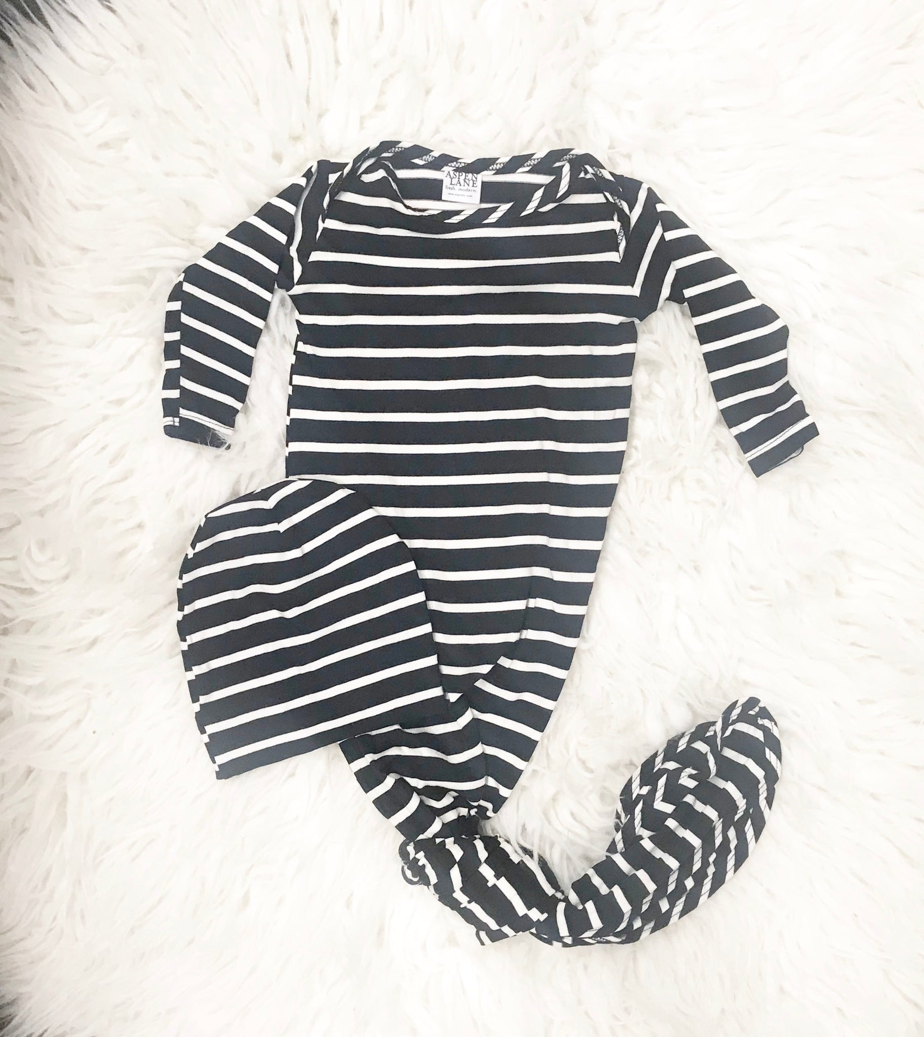 Knotted Gown & Hat Set |  Black Stripe - Aspen Lane