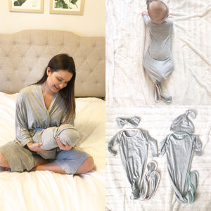 Gray Maternity Robe & Matching GOWN Set (Mint Green or Baby Pink) | 3-Piece Set - Aspen Lane