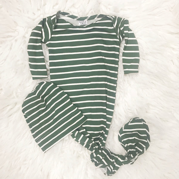 Knotted Gown & Hat Set |  Green Stripe - Aspen Lane