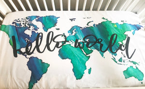 Hello World Fitted Crib Sheet or Swaddle | Blue Green Watercolor World - Aspen Lane