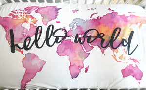 Hello World Fitted Crib Sheet or Swaddle | Pink Watercolor World - Aspen Lane