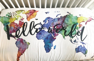 Hello World Fitted Crib Sheet or Swaddle | Rainbow Watercolor World