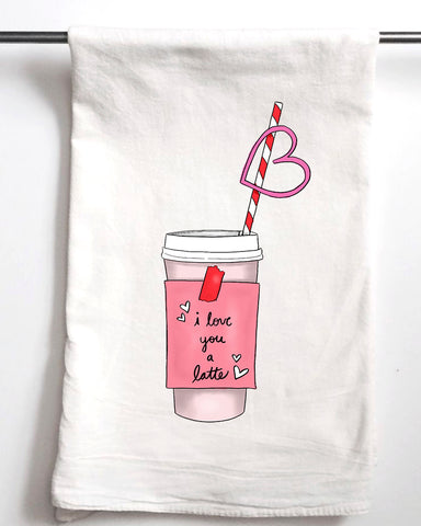 I Love You a Latte Valentine's Day Flour Sack Towel
