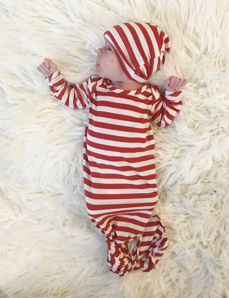 Red + White Stripe Knotted Gown 2-Piece Set - Aspen Lane