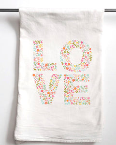 LOVE Flower Valentine's Day Flour Sack Towel