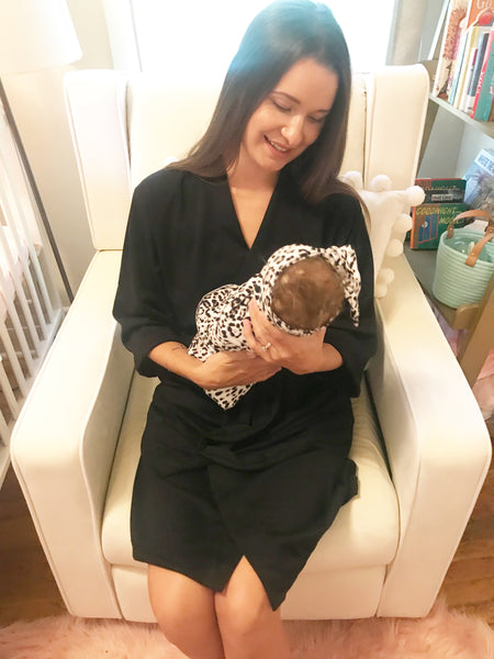 Gray & Black Leopard Maternity Robe & Matching Swaddle Set | 3-Piece - Aspen Lane