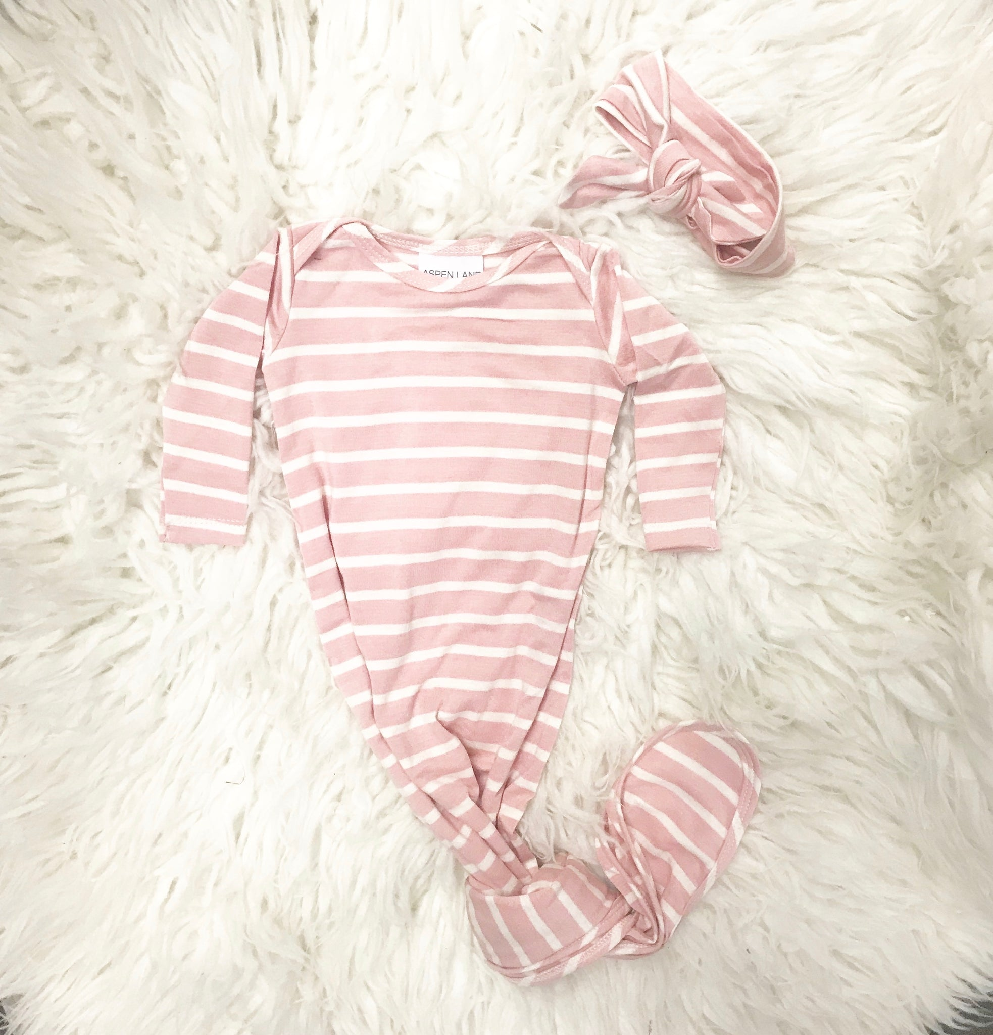 Knotted Gown & Headband Set |  Blush Pink Stripe - Aspen Lane