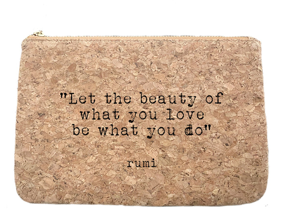 Rumi quote cork bag