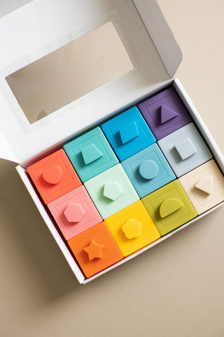 Stacking Silicone Blocks (Play, Teether, Bath Toy)
