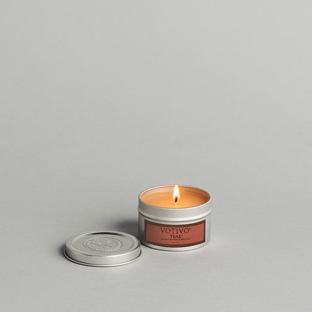 Teak Travel Tin Candle
