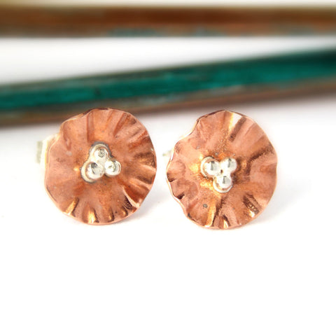 Copper Flower Stud Earrings - Copper and Sterling Silver - Rito Originals - 1