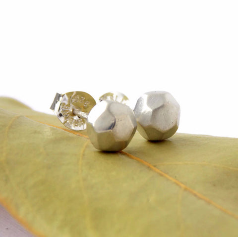 Faceted Pebble Stud Earrings - Sterling Silver - Rito Originals - 1