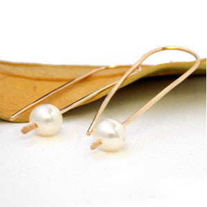 Golden Pearl Pendulum Earrings - 14k Gold-filled - Rito Originals