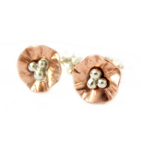 Mini Flower Post Earrings - Sterling Silver and Copper - Rito Originals