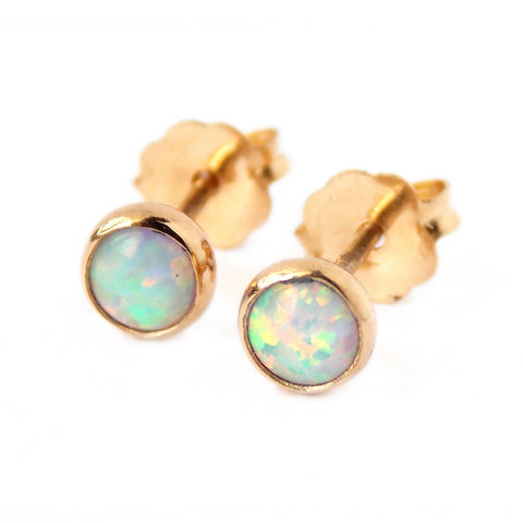 Opal Stud Earrings - Sterling Silver or Gold-filled - Rito Originals - 1