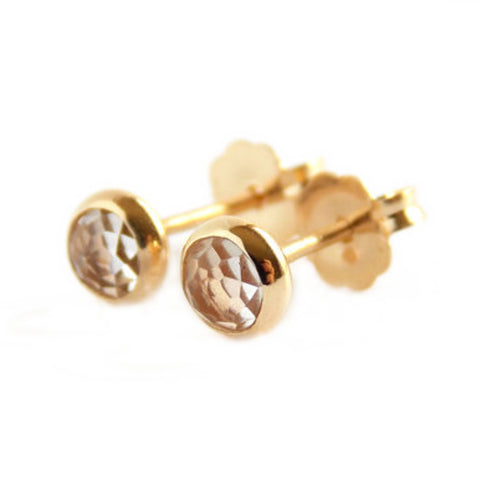 Rose Cut Stud Earrings - 14K Yellow Gold-Filled - Rito Originals - 1