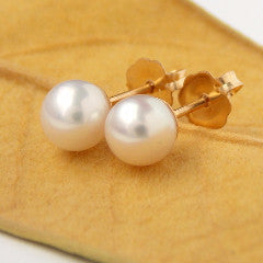 White Freshwater Pearl Studs - 14k Gold-filled - Rito Originals