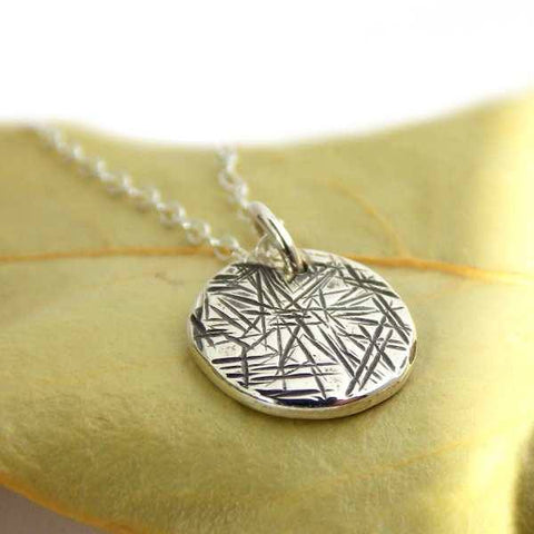 Cross-hatched Disc Pendant Necklace - Sterling Silver - Rito Originals - 1