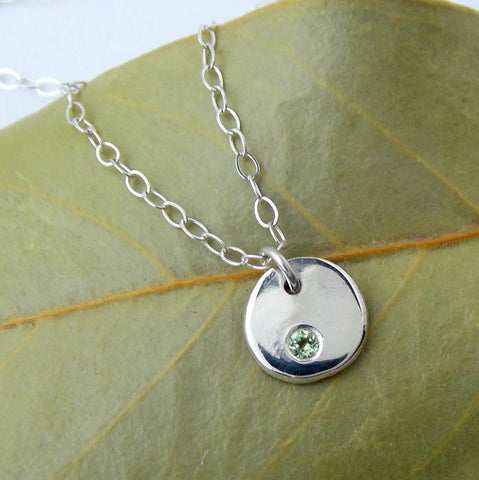 Flat Pebble Birthstone Necklace - Sterling Silver - Rito Originals
