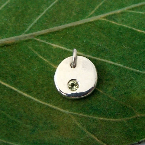 Flat Pebble Birthstone Pendant - Sterling Silver - Rito Originals