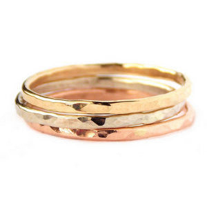 14K Gold Reflection Stacking Rings - Set of 3 - Rito Originals
